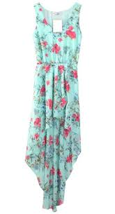 Light Blue High Low Dress Light Blue Bohemia Floral Sleeveless Chiffon Asymmetrical Dress