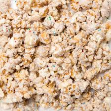 birthday cake specialty popcorn caramel corn tossed white