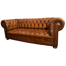 Square Chesterfield Sofa by 1970s Brown Chesterfield Leather Sofa With Brass Rivets By Hancock
