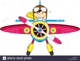 cartoon vintage plane and cute pilot illustration stock vector art