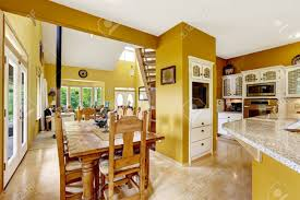 kitchen cabinets what color table beautiful farm house interior in bright yellow color wooden