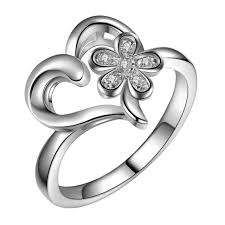 rings love heart images Beautiful charms love heart flower wholesale 925 jewelry silver jpg
