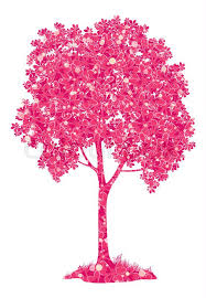 chestnut pink tree with a pattern of leaves and butterflies