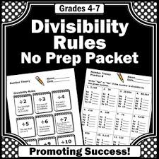 divisibility rules 4th grade division worksheets 5th grade math