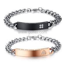 his and hers engraved bracelets customized matching chain bracelets set for him and