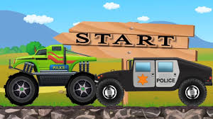 monster truck racing video police hummer vs police monster truck racing cars trucks for