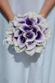 Silk Calla Lilies Silk Calla Lily Bouquets White With Purple Center Wedding