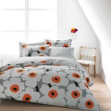 marimekko unikko grey white orange duvet set marimekko utö white