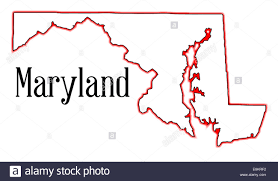 Map Of Maryland State by Outline Map Of The State Of Maryland Stock Photo Royalty Free