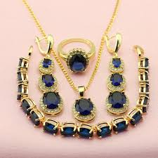 gold blue stone necklace images Wpaitkys fashion blue stone jewelry sets for women gold color jpg