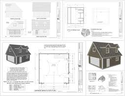 Garage With Loft G527 24 X 24 X 8 Garage Plans With Loft And Dormers Dwg And Pdf