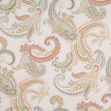 Home Decor Fabric Sale On Sale Grey And Pink Paisley Cotton Upholstery Fabric From