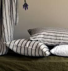 black ticking linen pillow case