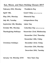 list of holidays sun moon learning center tx
