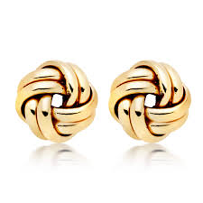 9ct gold stud earrings 9ct gold knot stud earrings 0005540 beaverbrooks the jewellers