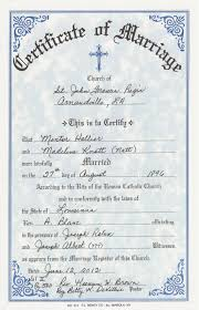 catholic marriage certificate marriage hollier mentor and madeline knott certificate of