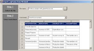 importing an existing logical framework from an ms excel