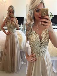 a line prom dresses round neck sleeveless long champagne prom