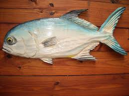 pompano 27 chainsaw wood angling fish carving rustic