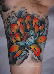 cool japanese lotus flower tattoo design for bicep
