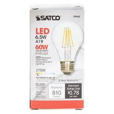 satco s9562 6 5 watt 60 watt equivalent clear warm white led
