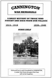 Memorial Booklet War Memorial Cannington Parish Council
