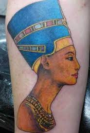 a small delicate tattoo of queen nefertiti by clod the ripper