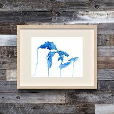 Map Upper Peninsula Michigan by The Living Great Lakes Great Lakes Watercolor Map Michigan