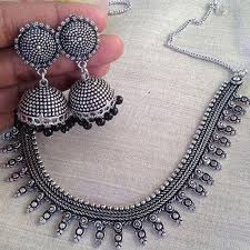 silver jewellery necklace sets images Oxidized necklace set oxidised jewellery oxidised jewelry jpg
