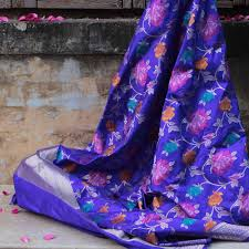 Buy Royal Blue Pure Silk Royal Blue Pure Katan Silk Banarasi Handloom Dupatta Tilfi