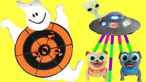 puppy dog pals find alien ufo space ship halloween ghost dart game