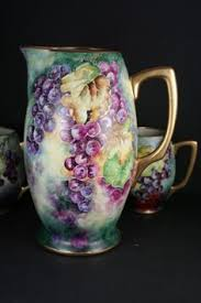 brittany tankard hairline limoges france hand painted apples tankard pitcher france china