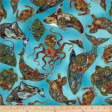 animal spirits metallic sea earth discount designer fabric