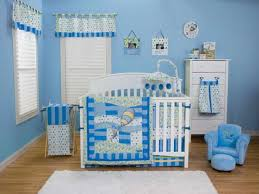 baby themes blue wall themes and white pattern valance combined by white