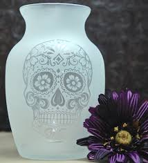 Engraved Glass Vases Vases My Sugar Skulls