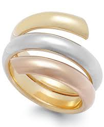 Italian Wedding Rings by Tri Tone Bypass Ring In Italian 14k Gold Rings Jewelry