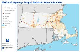 Map Massachusetts National Highway Freight Network Map And Tables For Massachusetts