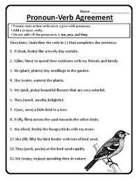 pronoun verb agreement worksheet pronoun verb agreement wonders