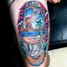 Tropical Themed Tattoos - 50 volcano tattoo designs for men erupting lava ink ideas
