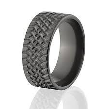 tire wedding rings black zirconium ring tire tread ring usa made tire