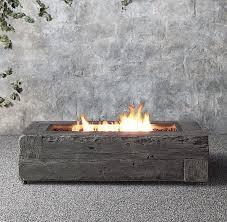 modern propane fire pit table woodgrain propane fire table restoration hardware rustic modern