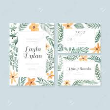 wedding invitation rsvp date vector watercolor postcard collection with floral decoration