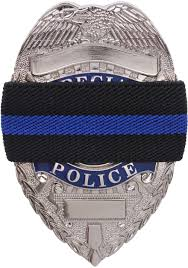 thin blue line support the police badge mourning band