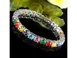 color stone bracelet images Zill multi color round cut tennis bracelet jpg