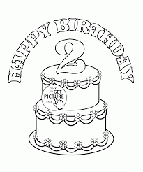 2nd birthday cake coloring page for kids holiday coloring pages