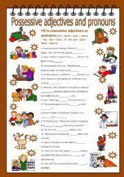 esl kids worksheets possessive adjectives and pronouns