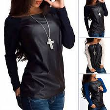 leather blouse womens leather sleeve sweatshirt t shirt casual