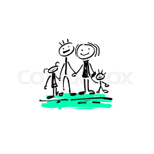 hand drawing sketch doodle human stick figure happy family father