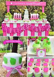 girl birthday ideas kara s party ideas apple of my eye girl pink green fruit birthday