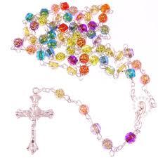 christian rosary rainbow flower multi coloured rosary